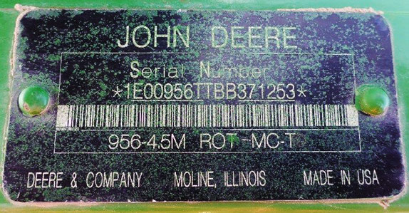 Serial number of the mower conditioner sold by Ritchie Bros.