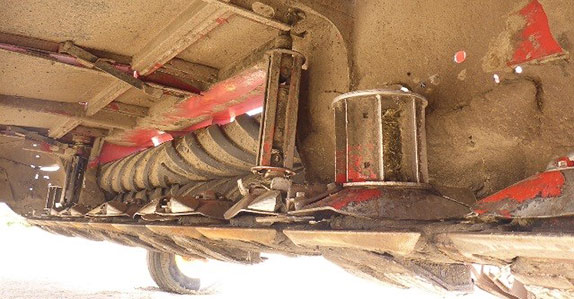 undercarriage of a mower conditioner