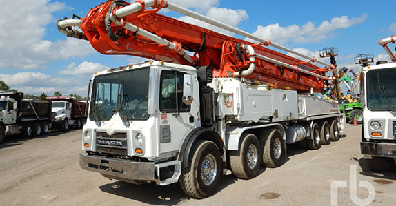2009 Mack concrete pump sold at Ritchie Bros. auction