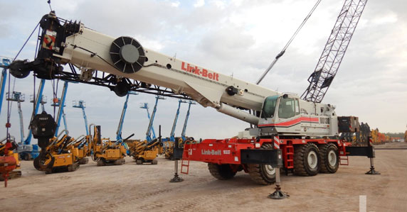 used 2010 Link-Belt rough terrain crane sold at Ritchie Bros auction