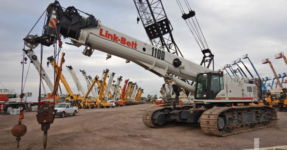 2015 Link Belt TCC1100 Crawler Crane at a Ritchie Bros auction yard